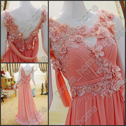 Wholesale Sexy Sheath Chiffon Bead flower Elegant Coral Bridesmaid Evening dress Party Gown