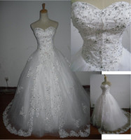 Wholesale Actual image white sweetheart tulles a line wedding dresses with applique beads and Rhinestones