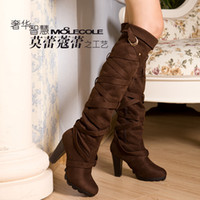 Thigh-High Boots Snow Boots Women Womens Fashion Over Knee Boots High Heels Lady Suede Winter Boot Chinese Name Brand moolecole
