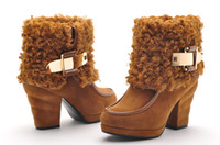 Ankle Boots designer sheepskin boots - Womens Fashion Designer Ankle Boots Highheel Lady Cashmere Shoes Chinese Name Brand moolecole
