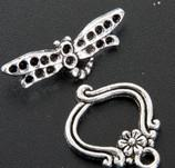 Jump Rings & Split Rings   MIC 90sets Tibetan Silver Dragonfly Toggle Clasps 111825