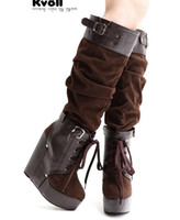 Wholesale 2012 The Latest New Fold Leather Buckle High heel Wedge Boots Elegant Xmas Winter Boots Shoes