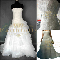 Wholesale Organza W A line Sweetheart Strapless Ruffles Plus Size Wedding Dresses Bridal Gowns
