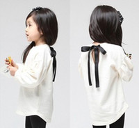 Wholesale Children s girls T shirt cotton at the back bowknot Hubble bubble sleeve shirt Autumn