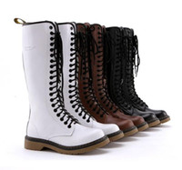 Wholesale 3 Colors Red Avril Lavigne Top Cowskin holes Martin boots genuine leather durable long boots