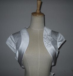 Wholesale Custom make white satin with applique beads bride s Wedding jacket