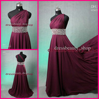 Wholesale Custom Made New Fashion Plum One Shoulder Backless Chiffon Sheath Grecian Prom Dresses