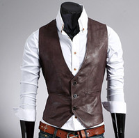 sleeveless hoodie - Fashion Mens PU leather Vest Hoodie Sweatshirt Sweats Sleeveless Slim leather vest size M L XL