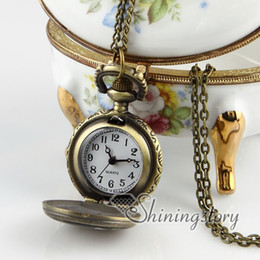 Wholesale night owl chain pocket watch vintage style pocket watch necklace Hand made jewelry