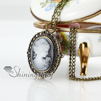Wholesale cameo lady head Brass bronze copper antique style openwork cameo lady head pocket watch pendant long chain necklaces