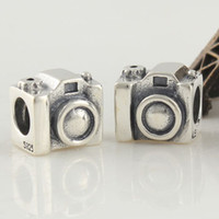 Wholesale Camera silver filigree beads with threaded made of streling silver loose beads for DIY european jewellery accessory LW076
