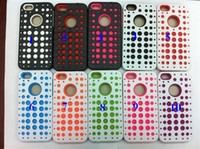 Wholesale Dual Hybrid Polka dot Mesh Net plastic Hard Case Soft silicone back cover case for iphone g th