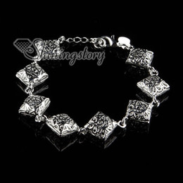 925 sterling silver filled brass openwork floweral flower square bracelets with charms