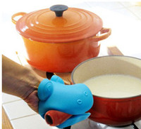 Silicone Rubber animal pot holders - New Cute Animal Pattern Heatproof Kitchen Tools Silicone Pot Holder Oven Mitts Gloves
