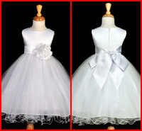 beautiful fall weddings - Custom Made Beautiful White Flower Girls Dresses for Weddings Pretty Formal Girls Gowns Cute Satin Puffy Tulle Pageant Dress Fall