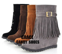 Wholesale 2012 qiu dong tassel women s shoes in Europe and the United States wedge increased snow boots