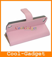 Wholesale Wallet Credit Card Stand Genuine Leather Case Cover Pouch for iPod Touch Touch5 IT5C15