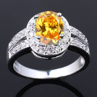 With Side Stones Women's Gift Womens CZ Nal Simulated Oval Cut Yellow Citrine Genuine 925 Sterling Silver Ring R013
