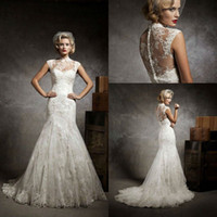 Wholesale 2013 Latest High Collor A Line Ivory Lace Chapel Train Button Covered Bridal Wedding Dresses Bridal