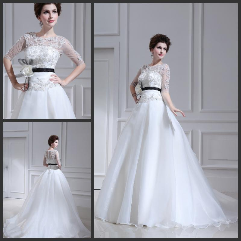 Discount Jewel Long Sleeves White Organza Full Length Wedding ...