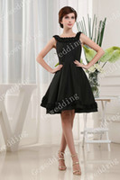 Ruffle Sleeveless  Beautiful Square black ruffle A-line Taffeta short girl dress formal bridesmaid party Dresses D280