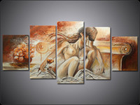 Wholesale Romantic Nude Lovers Group Painting Five Pieces Classical Handmade Oil Painting With Frame Wall Art