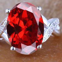 Women's big red egg - Womens Nal Simulated Big Oval Egg Cut Red Garnet Genuine Sterling Silver Ring R024