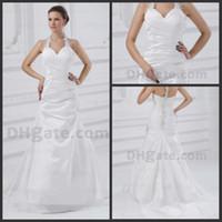 Wholesale Actual Image Halter v neck beaded wedding gown ruffle taffeta whit zipper back Wedding Dresses n389
