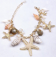 Wholesale Korea Style Gold Plated Starfish Seashell Conch Pearl Series Charms Bracelet