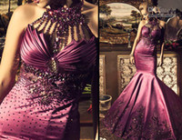 Wholesale No Risk Best Selling Halter Embroidy Crystal Beading Mermaid Fashion Style Evening Prom Dress CBD005