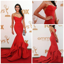 Wholesale Actual Image Sexy Red Nina Dobrev mermaid sweetheart strapless Emmy Awards Celebrity Dresses
