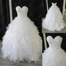 Wholesale Real Sample White Organza Sweetheart Ball Gown Chapel Empire Ruffles Beaded Wedding Dresses