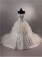 Wholesale B04 Breathtaking Corset and Tulle Ball Gown Wedding Dresses Beads Rhinestone Floor Length Cathedral
