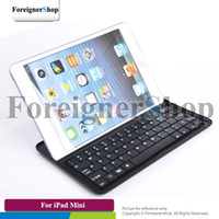 Wholesale 100 For iPad Mini inch Bluetooth Wireless Keyboard QWERTY Aluminum Stand Case Cover Shell