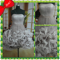 Wholesale Factory Product Strapless A Line Bubble Ruffle Custom Made Lace Mini Sexy Cocktail Dress Party Dress