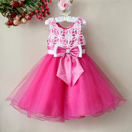 Wholesale Hot Pink Lace Baby Girls Tutu Christmas Pageant Dresses With Bow Children Ball petti Skirt Kids