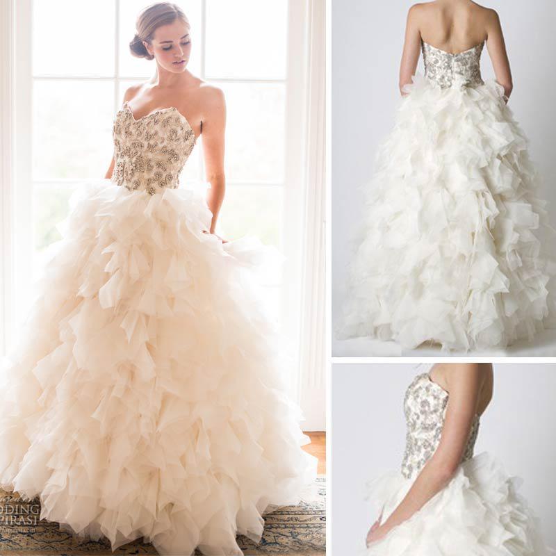 2013 New Soraya Wedding Dresses Sweetheart Beaded Layered Ruffled ...