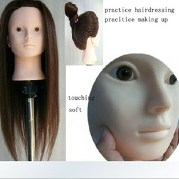 Wholesale Lifelike Cosmetology quot Mannequin Head Support Clamps Sponge cm for Makeup Coil Up Hair Practice