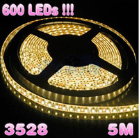 Wholesale 600 LEDs m v warm white smd flexible led strip light led ribbon for christmas decoration