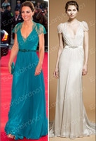 A-Line Sexy Lace 2013 Sexy Prom Dresses Kate Middleton Green Jenny Packham V Neck Lace Chiffon Button Celebrity Dress