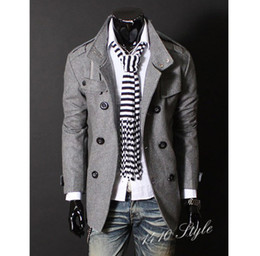 Wholesale 2012 fashion men s wool coats stand collar long sleeve double breasted long coat christmas outwear