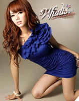 Wholesale 2012 Night Club Wear Women Dresses Mini Dress Single Shoulder Falbala Silk Royal Blue Black Sexy