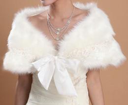 Wholesale Cheap Winter Wedding Dress Ivory Faux Fur Stole Wrap Shrug Bolero Coat Bride shawls cm