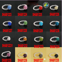 Unisex Party Size Selectable Fashion colorful 10mm or 12mm small crystal beads CZ crystal disco ball elasticity ring 20pcs lot