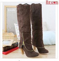 Wholesale Winter New Women s Shoes Temperament Matte Rough With High Heeled Knight Boots Knee Boots Many Color