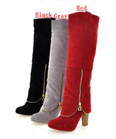 Wholesale New Winter Women s Shoes Matte Rough With High Heeled Cold Proof Knight Boots Knee Boots Mixed Order