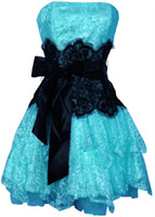 Wholesale 2012 Hot Sale Strapless Bustier Contrast Lace and Crinoline Ruffle Prom Mini Dress Junior Plus Size