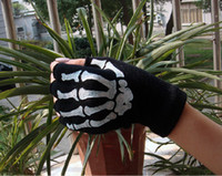 Wholesale New hot sale Unisex bones fingerless gloves cycling half finger gloves work computer gloves FREE SH
