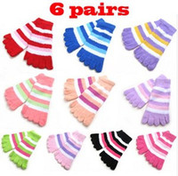 fuzzy socks - Women Fuzzy Striped Toe Socks Soft Warm five fingers Warmer Winter