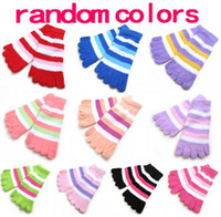 Wholesale Women Fuzzy Striped Toe Socks Soft Warm five fingers Warmer Winter